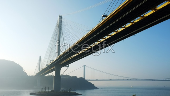 Cross-Sea Bridge in the early morning pictures