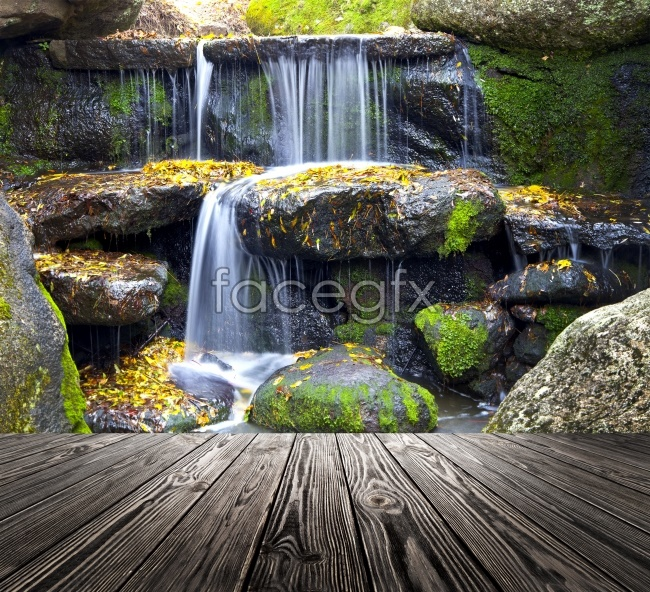 Waterfall flowing picture material