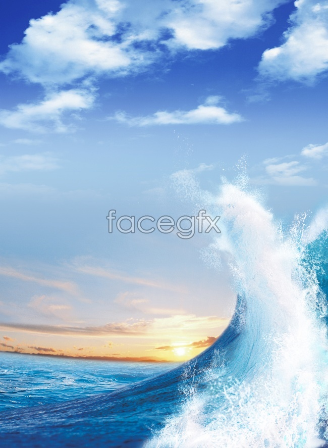 Blue Sky Sunset surf HD pictures