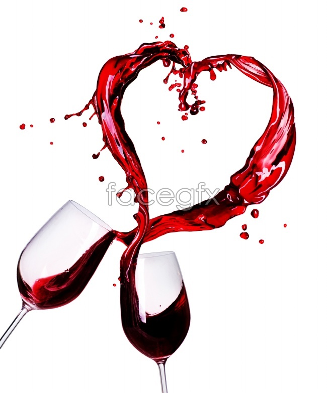 Cheers heart-shaped red wine picture