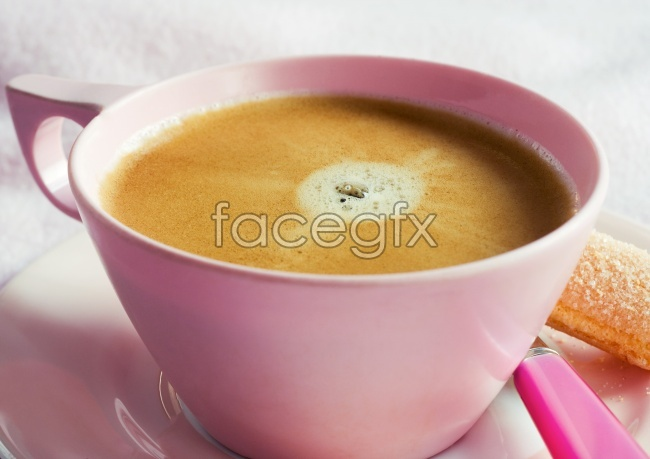 Pink cups of delicious coffee HD Photo