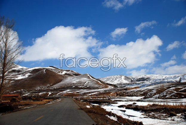 Snow Mountain Road scenery picture