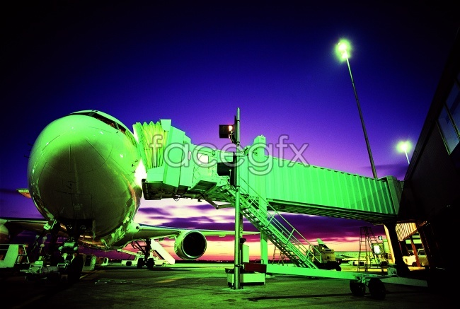 Night airport aircraft HD pictures