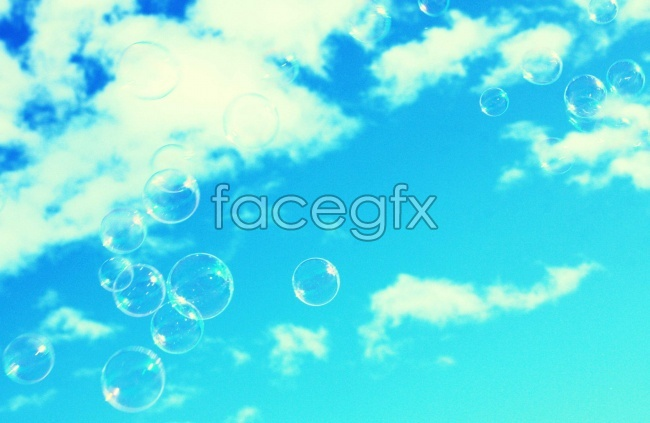 Blue sky and white clouds bubble picture