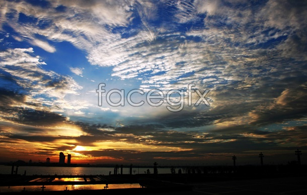 Sunset sky picture material