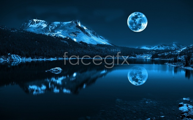 Night moon landscape picture