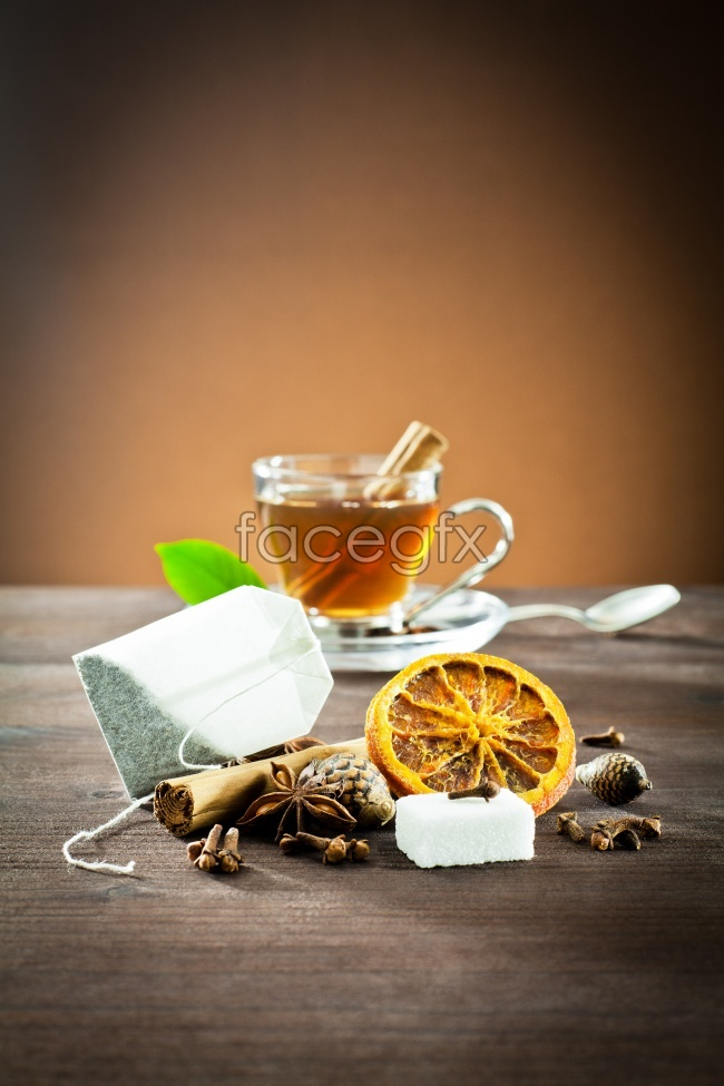 Lemon herbs and health food picture material