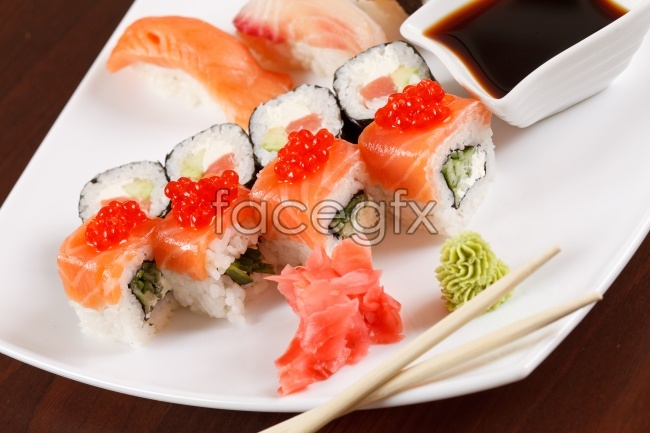 Nikko flavored seafood sushi pictures
