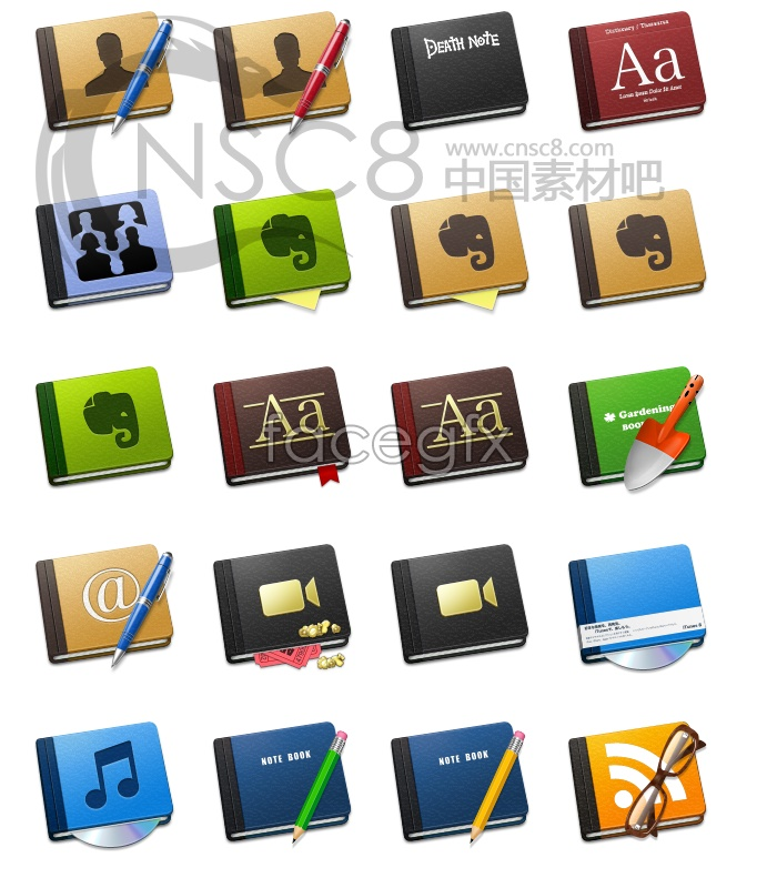 Notepad style icons