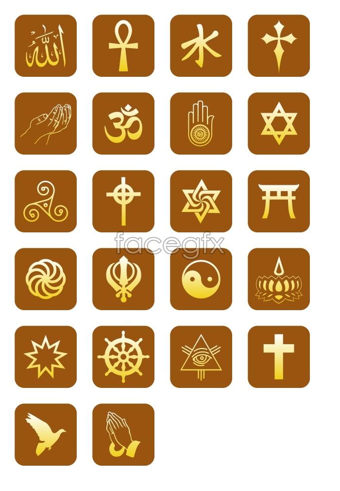 Religious symbols symbols icons