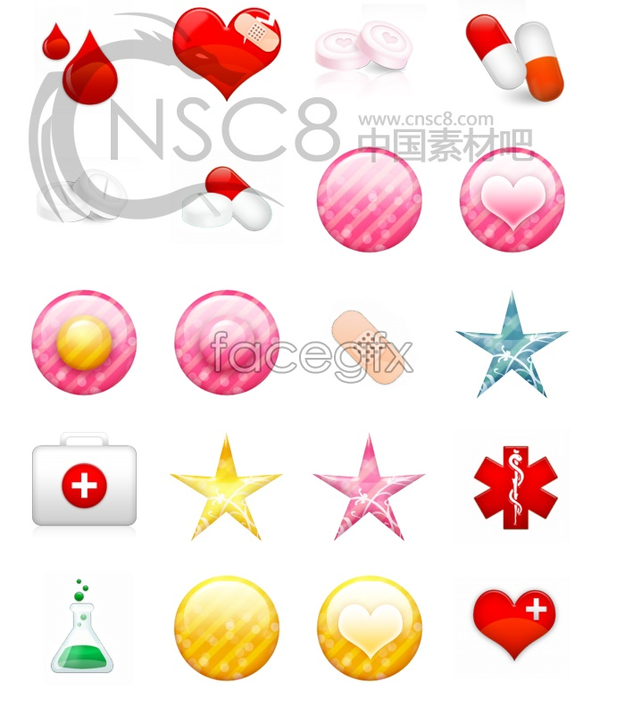 Crystal health care icons