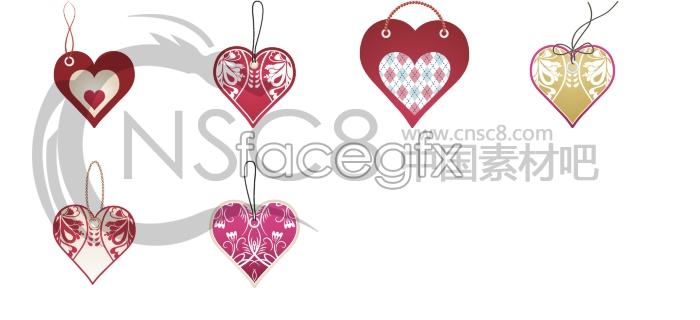 Heart-shaped tags desktop icons
