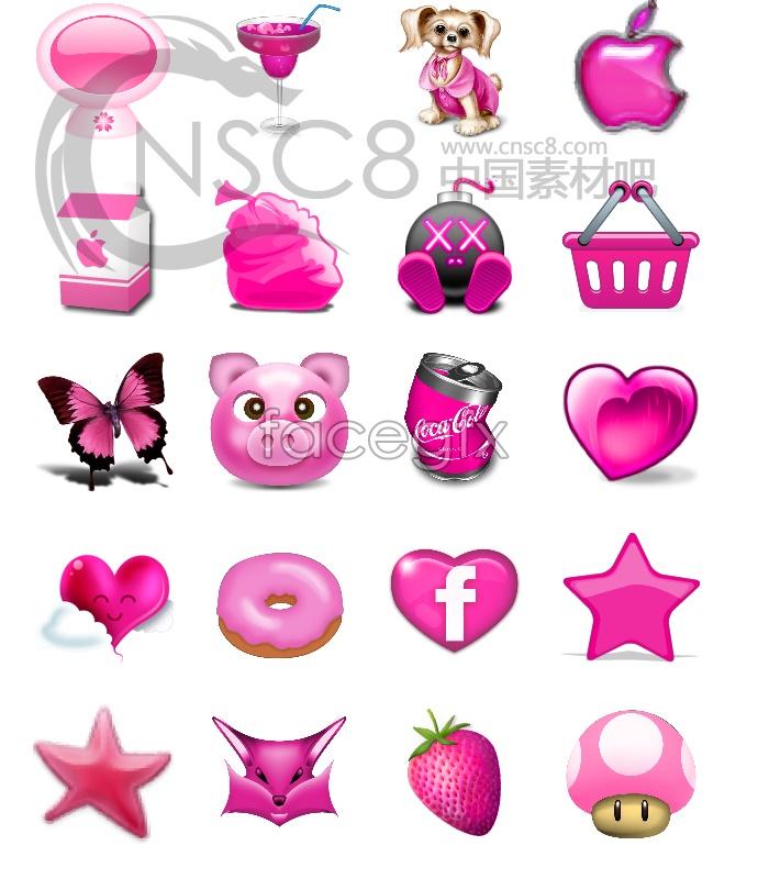 Cute pink desktop icons
