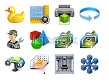 D technology stereo icons