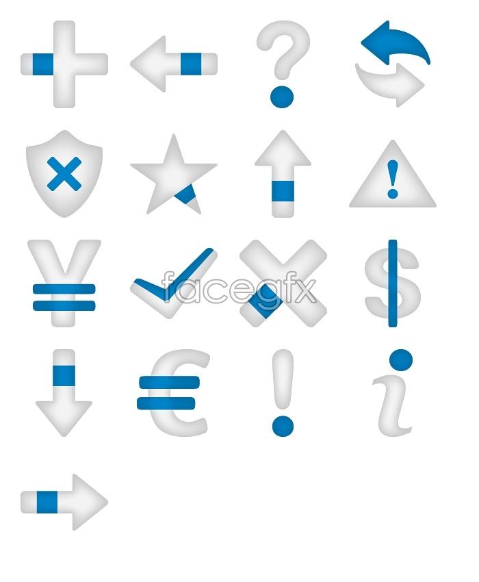 Blue and gray arrow symbols icons
