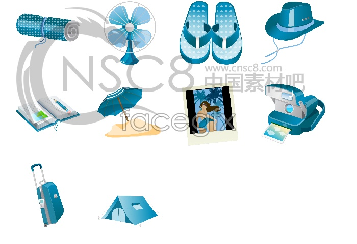 Blue holiday icons