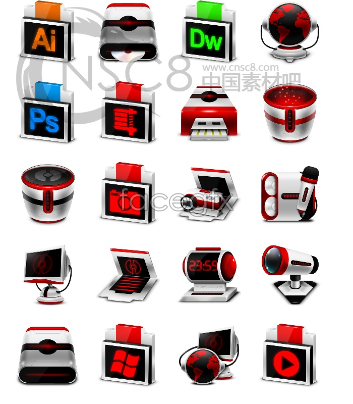 Red stereo desktop icons