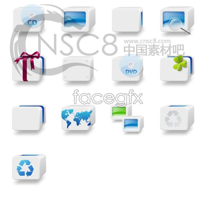 Blue squares desktop icons