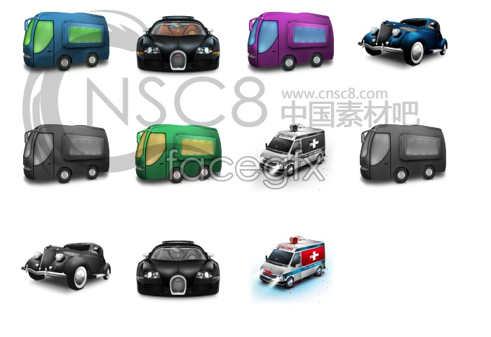 Cartoon cars desktop icons