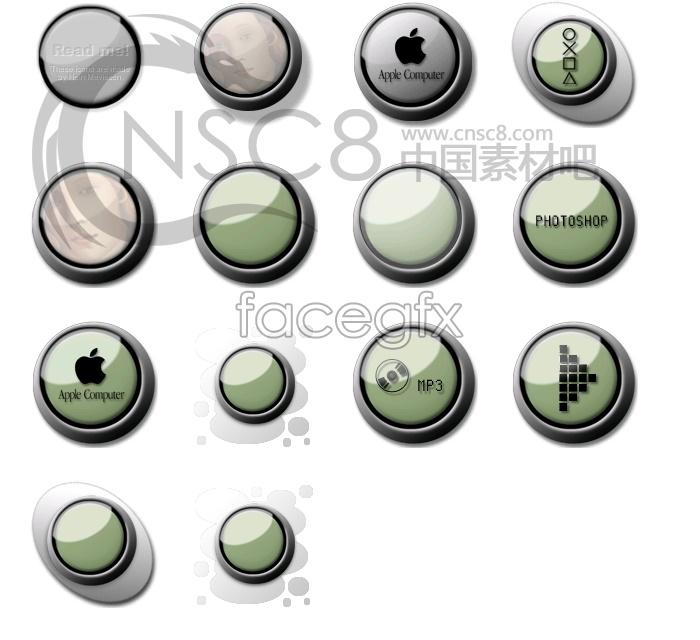 Dark green ring button Apple icon