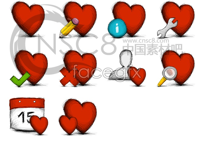 Red heart-shaped desktop icons