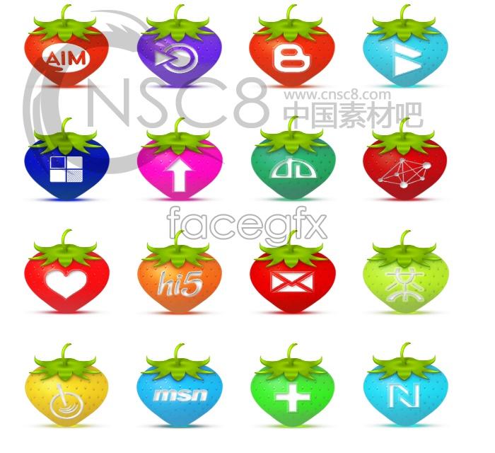 Strawberry desktop icons