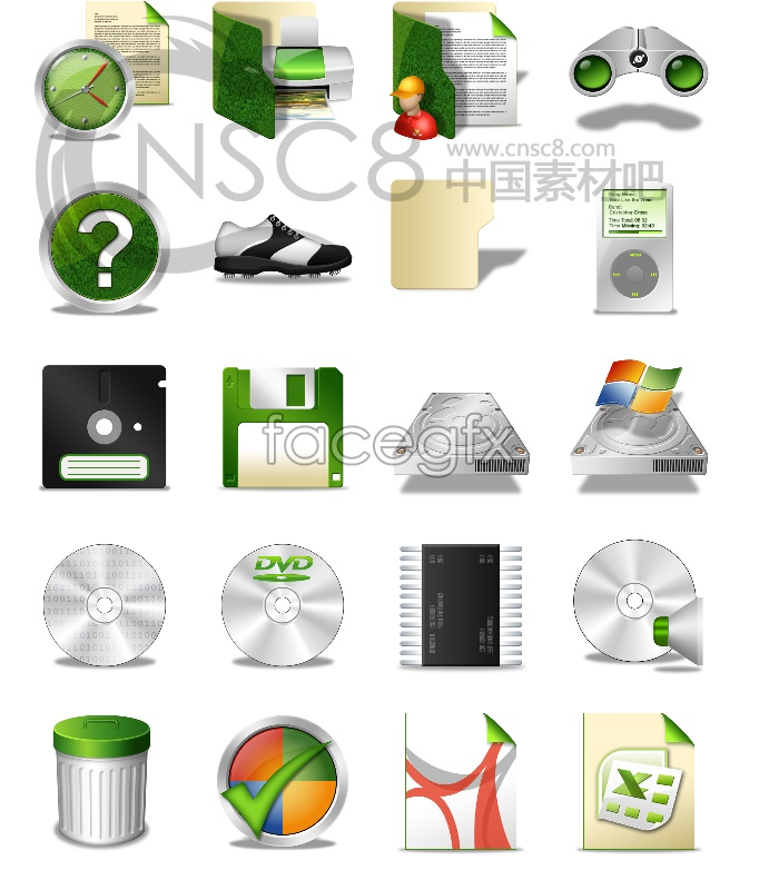 Green low carbon design icons