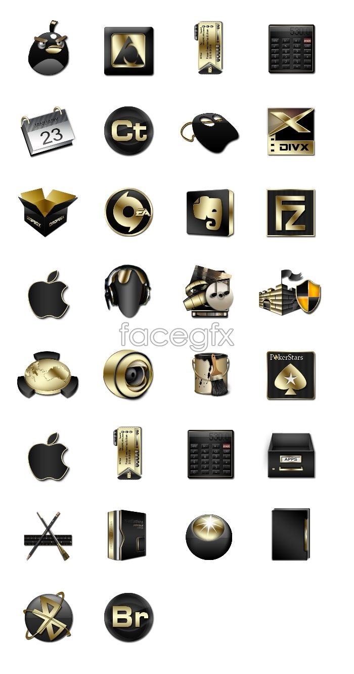 Metal style computer icons