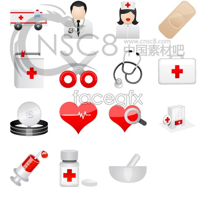 Caring medical desktop icons