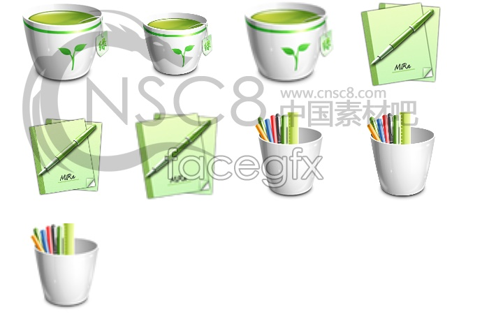 OFFICE green desktop icons