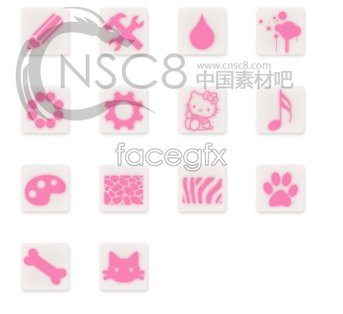 Pink cartoon desktop icons