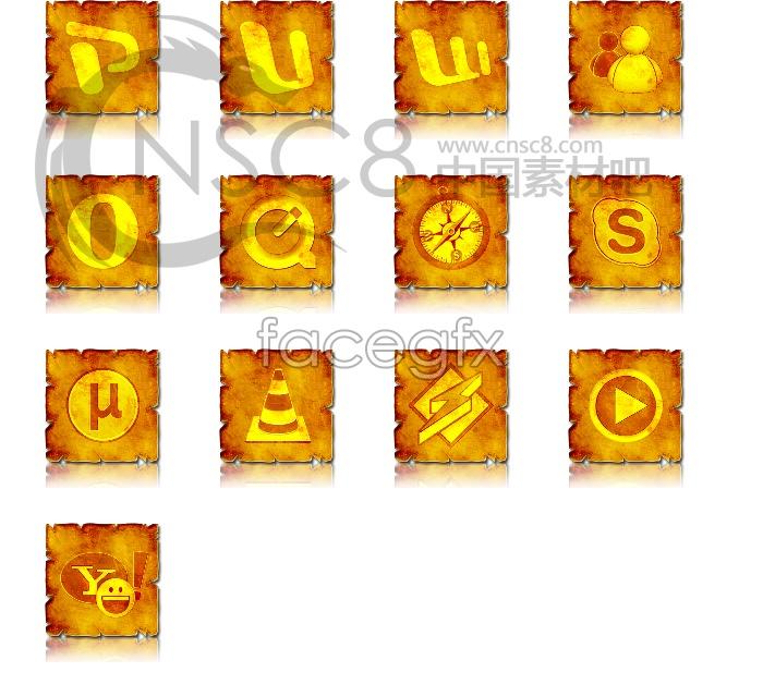 Square gold desktop icons