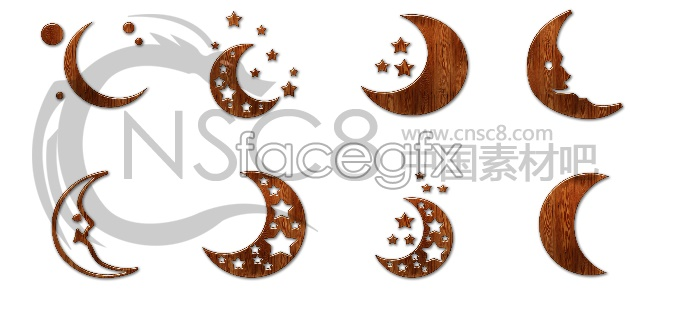 Moon wood desktop icons