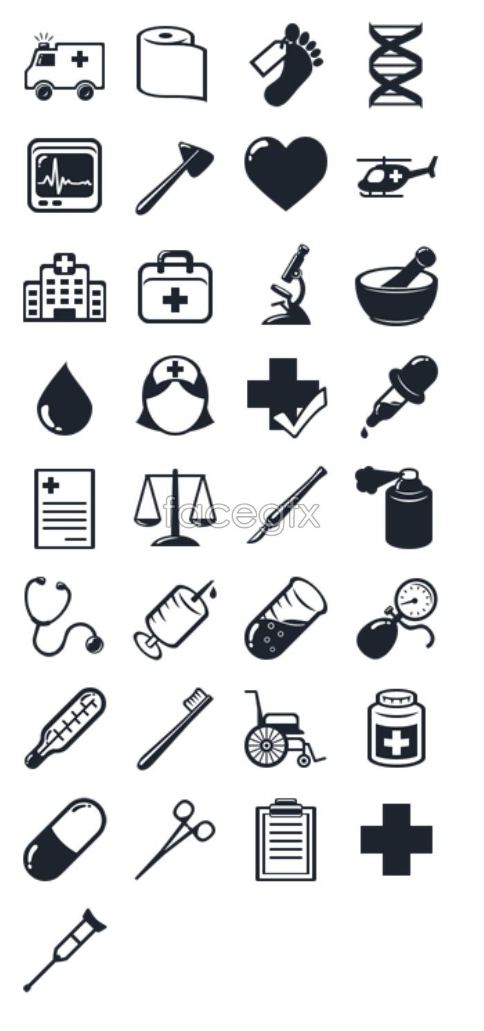 Hospital medical equipment icons