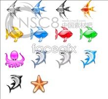 Crystal bright sea fish icon