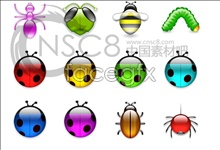 Transparent bright! Insects icons 2