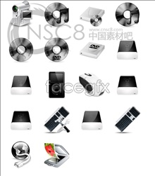 Black and white computer hardware icons