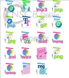 Cartoon files desktop icons