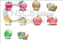 Crystal cartoon fruit icons