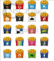 French FRY LOGO design icons