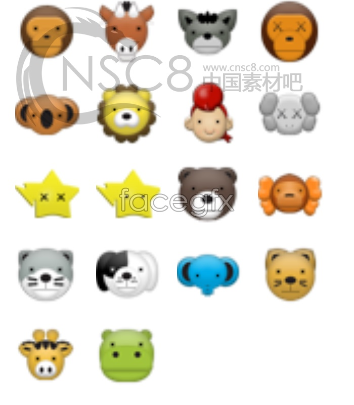 Cute animal avatar small icons