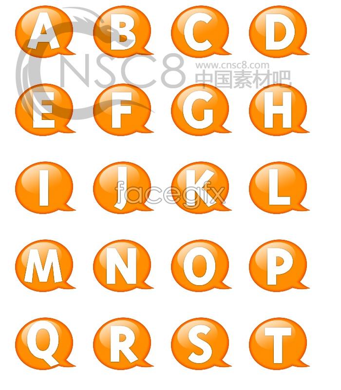 Orange bubble letters desktop icons