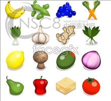 Cartoon fruit and vegetables desktop icons