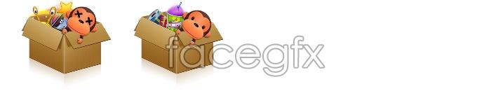 Cute monkey box icons
