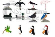 Cartoon birds icons