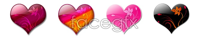 Pattern heart shaped icons