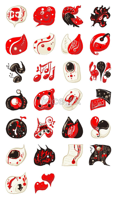 Red cartoon desktop icons
