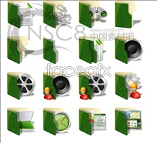Green folders desktop icons