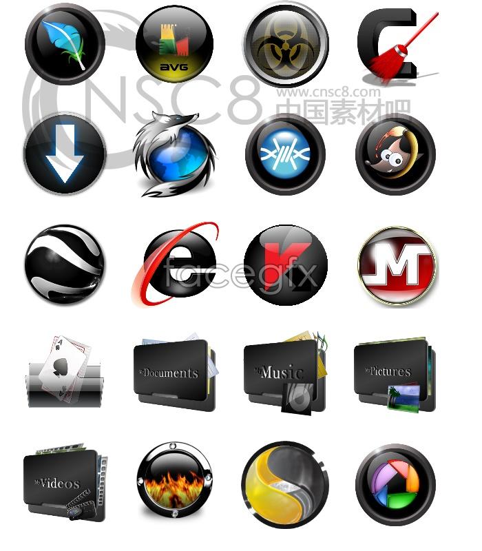 Black Crystal desktop icons