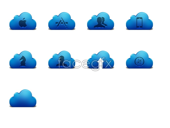 Blue clouds style icons